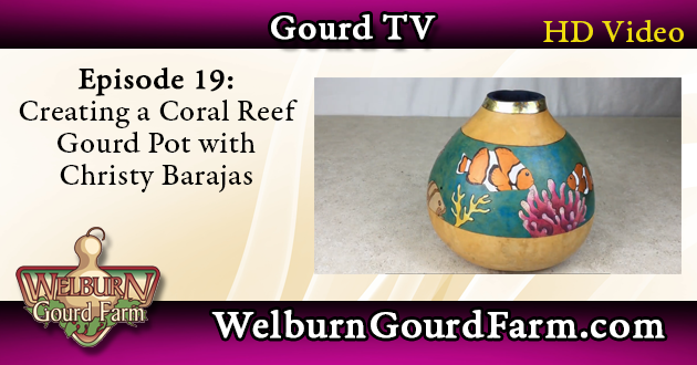 Episode 19: Creating a Coral Reef Gourd with Pigment Powders and Metal Leaf – Christy Barajas