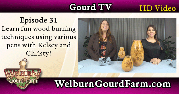 31: Learn fun wood burning techniques using various pens with Kelsey and Christy!